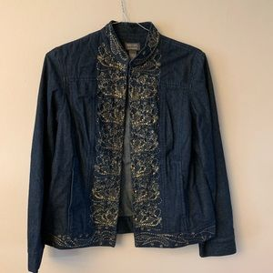 Jean jacket with some gold designs